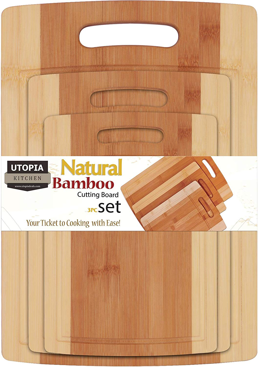 Utopia Kitchen Bamboo Cutting Board 3 Piece Set