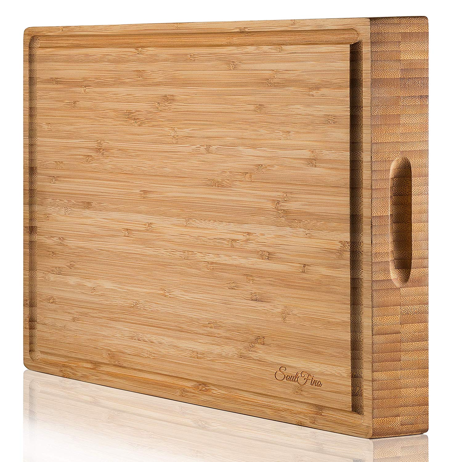 EXTRA LARGE Organic Bamboo Cutting Board & Thick Butcher Block w/Juice Groove