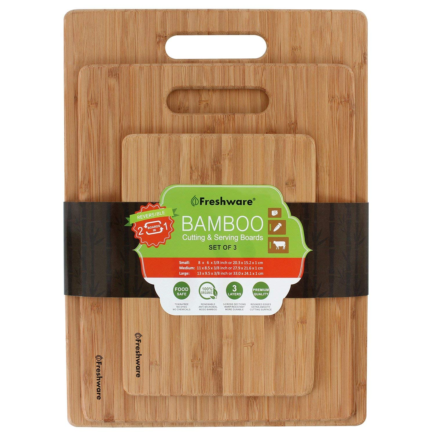 Freshware BC-200PK Bamboo Cutting Eco-Friendly Wood Chopping Boards