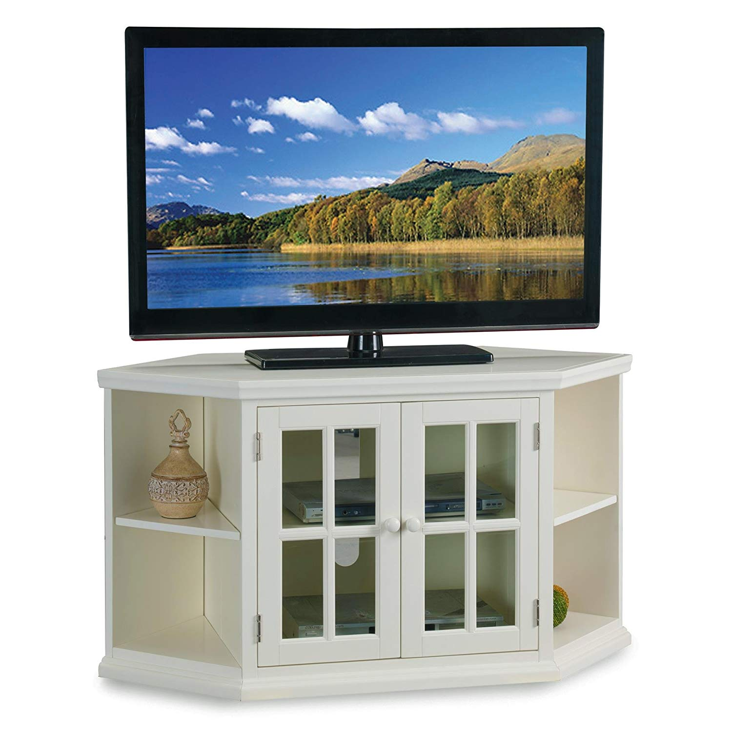 "White 46"" Corner TV Stand with Bookcases"