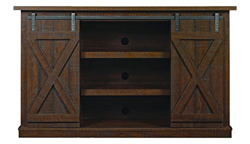 Comfort Smart Wrangler Sliding Barn Door TV Stand, Sawcut Espresso