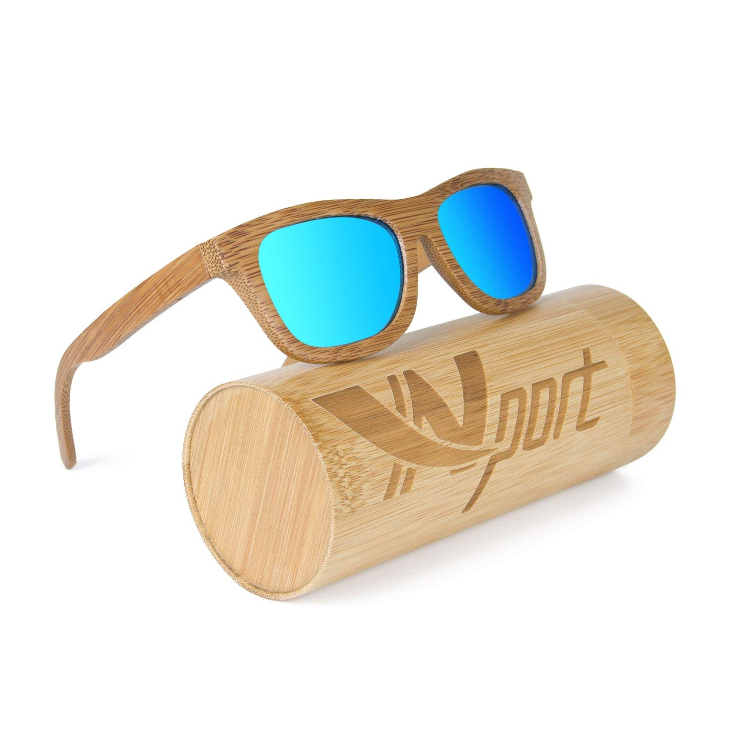 Ynport Mens/Womens Polarized Full Charcoal Bamboo Frame Classic Wooden Coated Sunglasses, vintage Eyewear, Floating in Water