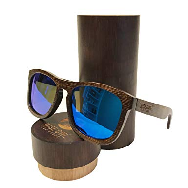 Wiseowl Polarized Bamboo Wood Sunglasses |Eco-friendly, Lightweight, and Floating Wooden Sunglasses For Men & Women (Green Lens)