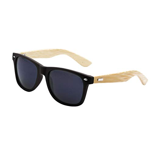 LogoLenses Men's Bamboo Wood Arms Classic Sunglasses