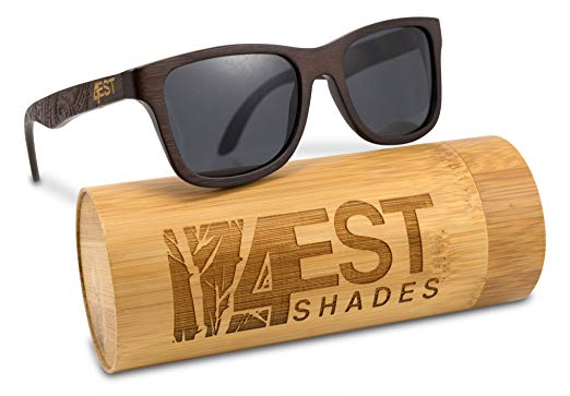 Bamboo Wood Sunglasses - Polarized handmade wooden shades in a wayfarer that Floats!