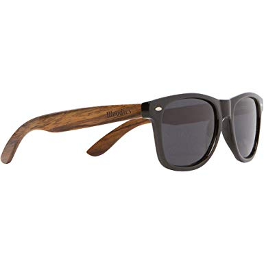 WOODIES Walnut Wood Sunglasses with Black Polarized Lenses for Men or Women