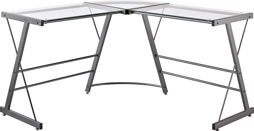 Ameriwood Home Odin Glass L-Shaped Computer Desk - Corner Gaming Desks