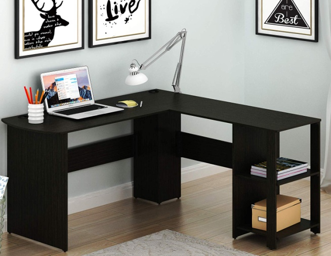 SHW L-Shaped Home Office Corner Desk Wood Top - Corner Gaming Desks