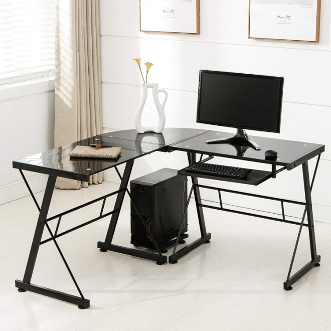 Mecor L Shape Tempered Glass Computer Desk - Corner Gaming Desks