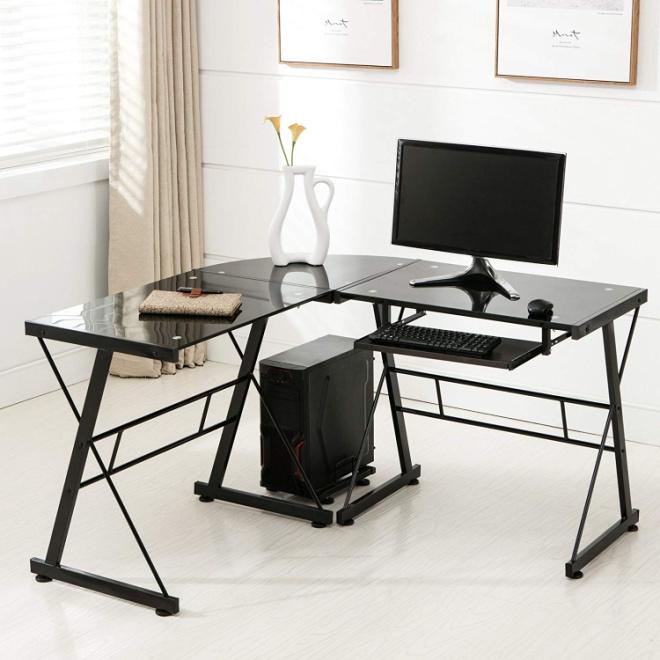 Mecor L Shape Tempered Glass Computer Desk