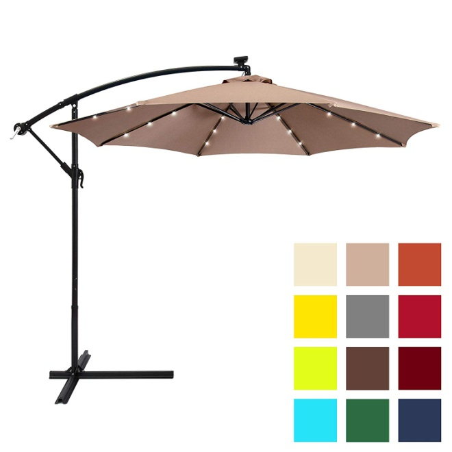 Best Choice Products 10ft Solar LED Patio Offset Umbrella