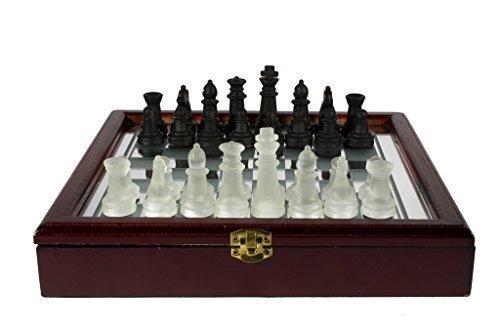 Glass Chess Set with Storage Case