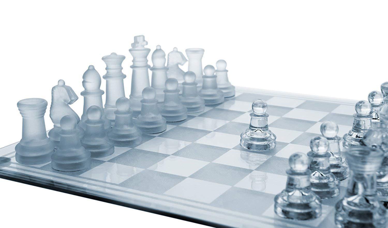 """SANTA 10"""" Fine Glass Chess Game Set"""