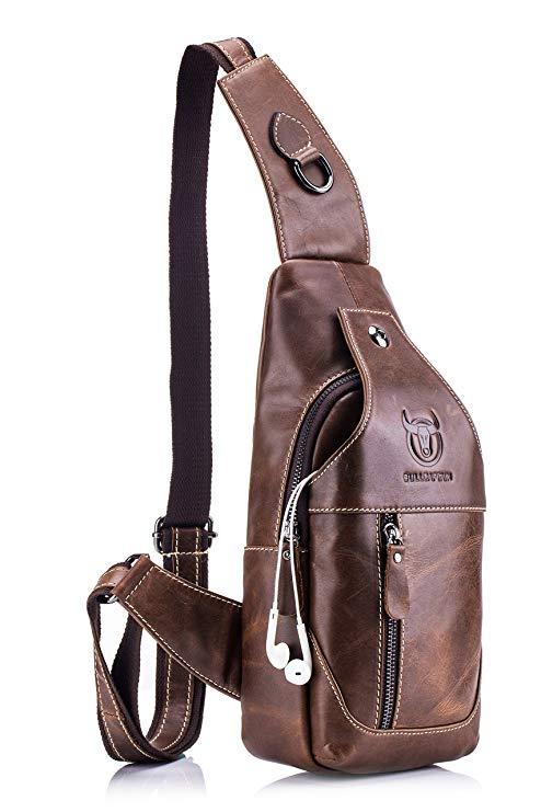 Men's Sling Bag Genuine Leather Chest Shoulder