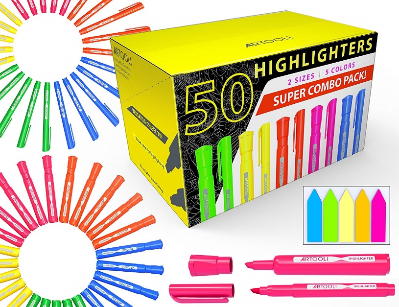 50 Chisel Tip Highlighters Markers Bulk Assorted Colors