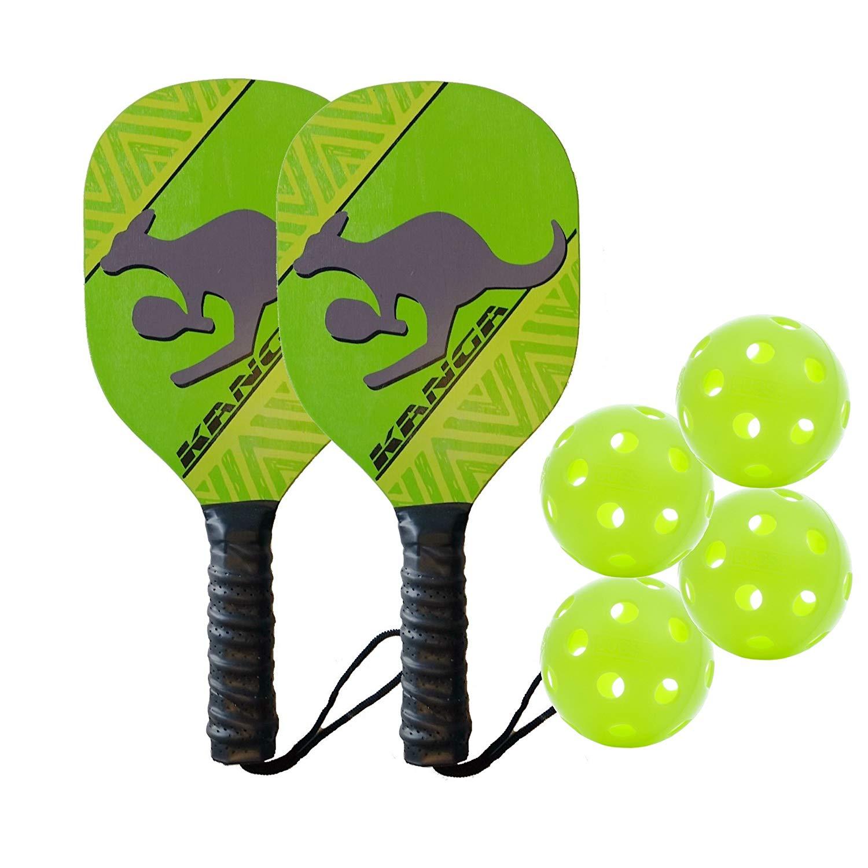 Kanga Wood Pickleball Paddle & Bundles (3 Options: Single Paddle, 2 Paddle/4 Ball Bundle, 4 Paddle/6 Ball Bundle)