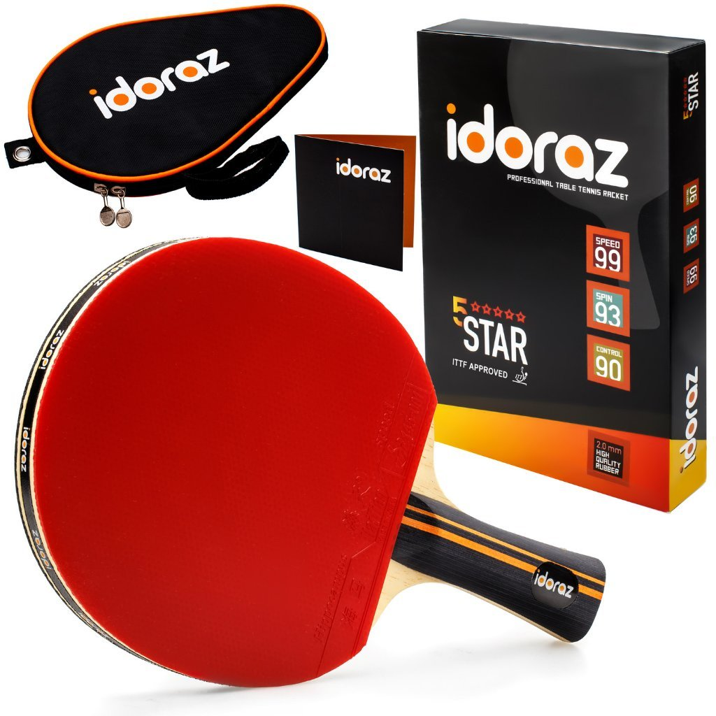 Idoraz Table Tennis Paddle Professional - Ping Pong Racket with Carrying Case – ITTF Approved Rubber for Tournament Play