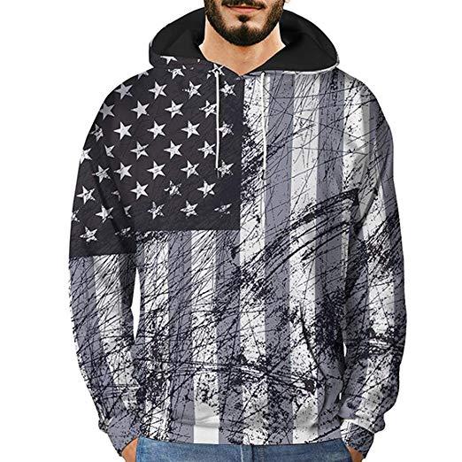 Men's Novelty Sweatshirts,Mens 3D Printed Graffiti Pullover Long Sleeve Hooded Sweatshirt Tops Blouse
