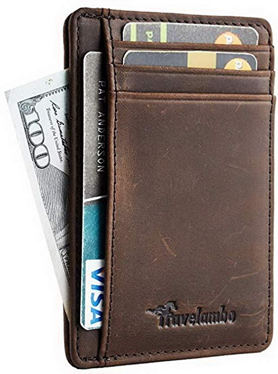 Travelambo Front Pocket Minimalist Leather Slim Wallet RFID Blocking