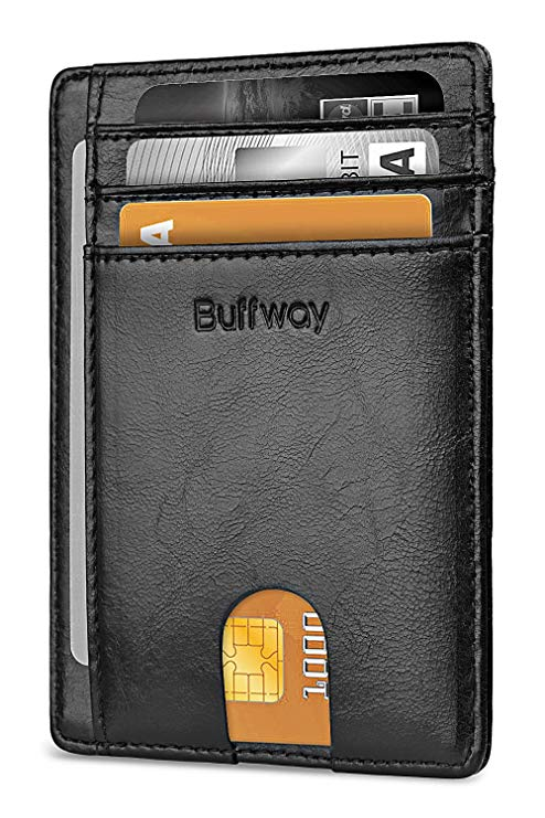 Buffway Slim Minimalist Front Pocket RFID Blocking Leather Wallets