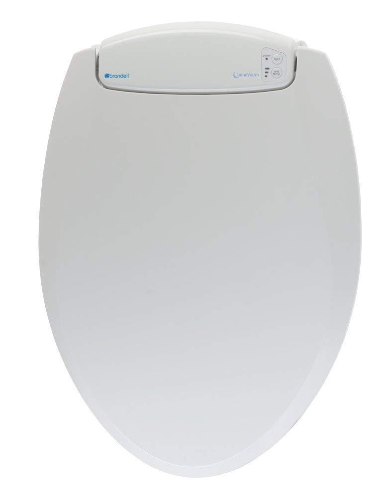 Brondell L60-EW LumaWarm Heated Nightlight Elongated Toilet Seat