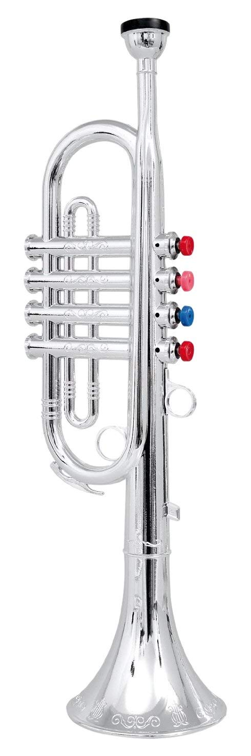 Click n' Play Metallic Silver Kids Trumpet Horn Wind Instrument