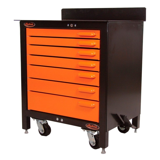 Swivel 7-Drawer 30-Inch Rolling Workbench