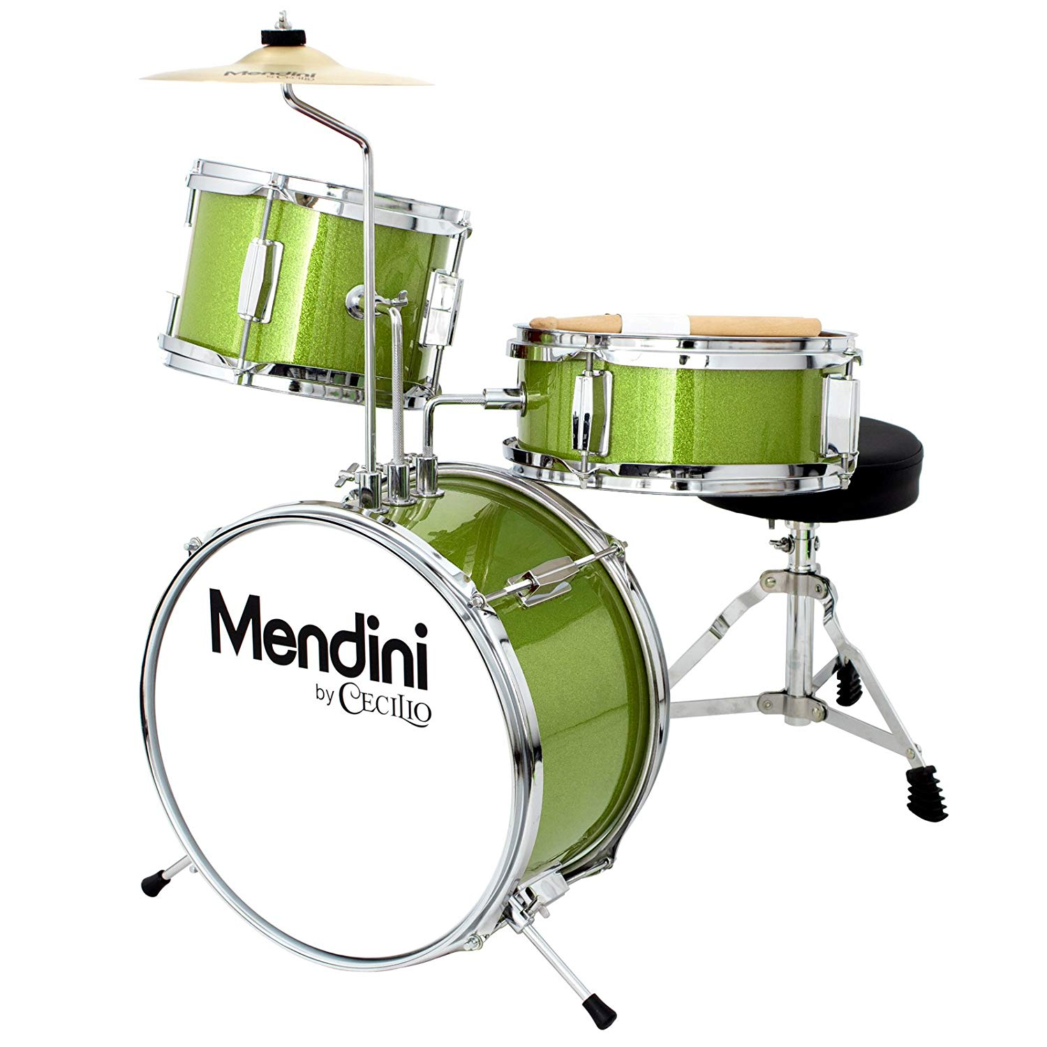 Mendini 3 Drum Set, Metallic Green