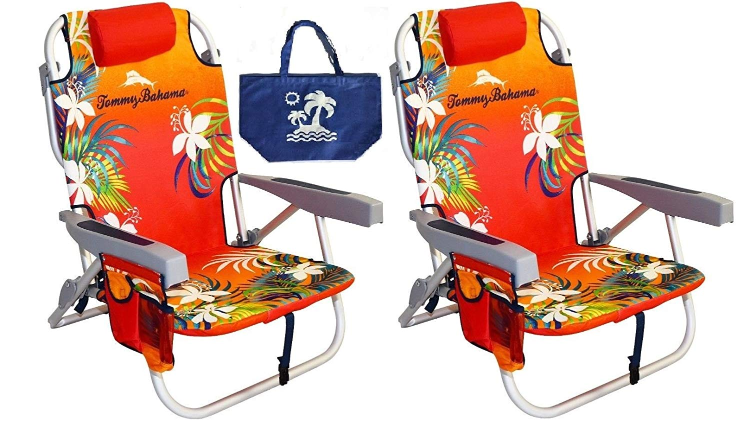 Tommy Bahama 2 Backpack Beach Chairs/Red