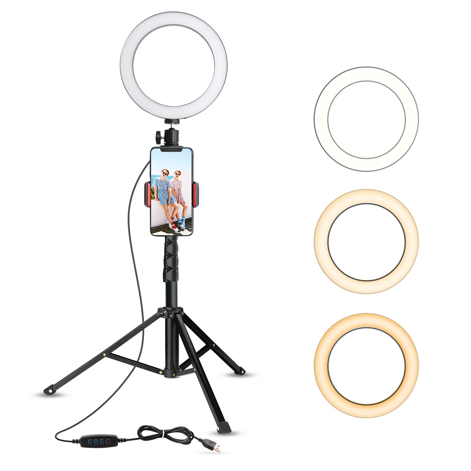 "8"" Selfie Ring Light with Tripod Stand & Cell Phone Holder"