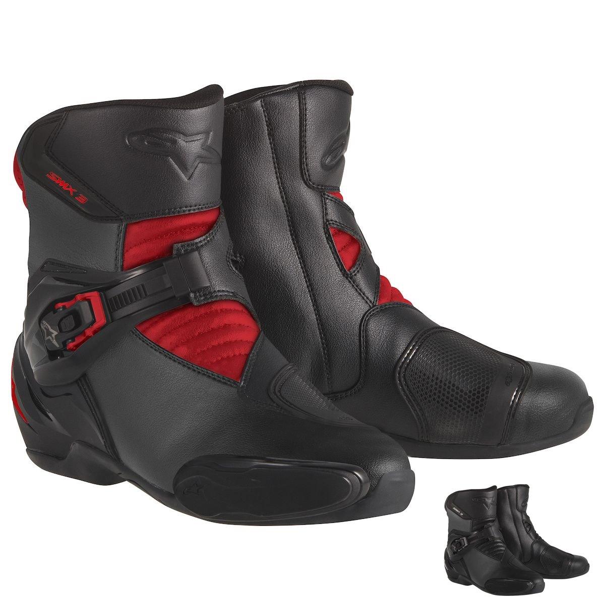Alpinestars SMX-3 Men's Motorcycle Street Boots (Black/Red, EU Size 38)