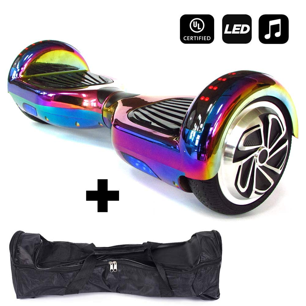 HUVTRON | Rainbow Chrome Self Balancing Hoverboard with Durable Aluminum Wheels (NOT Plastic) Built-in Bluetooth & Speaker, Fun LED Lights, and Carrying Case - Cheap Hoverboards under 250$