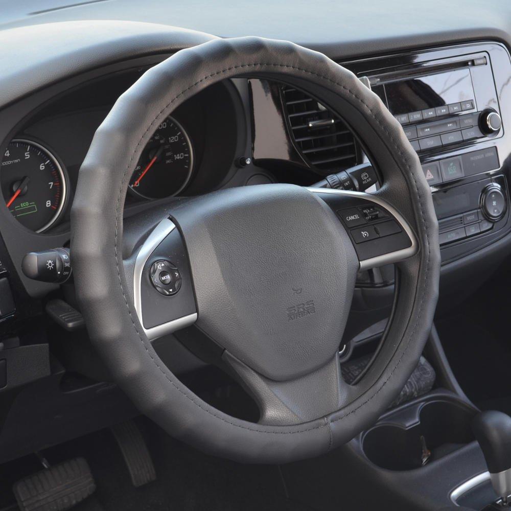 BDK Genuine Leather Car Steering Wheel Cover