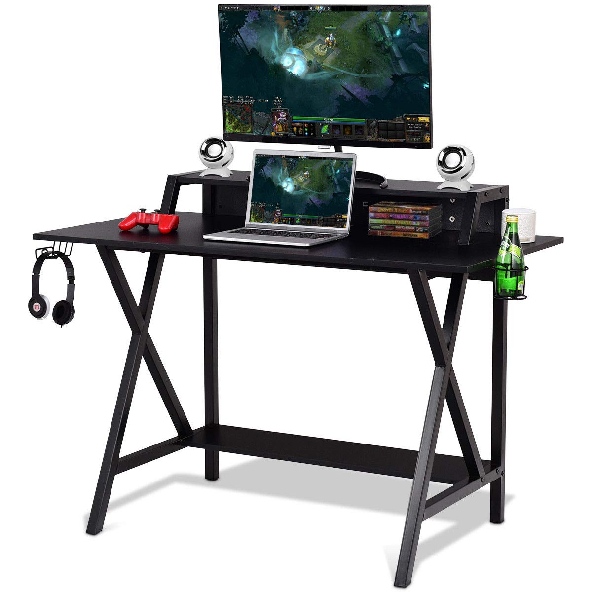 L Shaped Desk Home Office Desk with Round Corner. Gaming Desks
