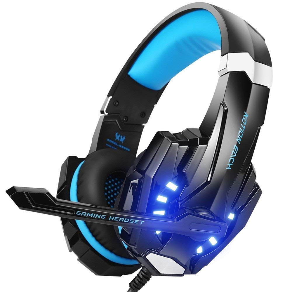 Gaming headphone: BENGOO G9000 Stereo Gaming Headset for PS4, PC, Xbox One Controller, Noise Cancelling Over-Ear Headphones with Mic, LED Light, Bass Surround, Soft Memory Earmuffs for Laptop Mac Nintendo Switch Games