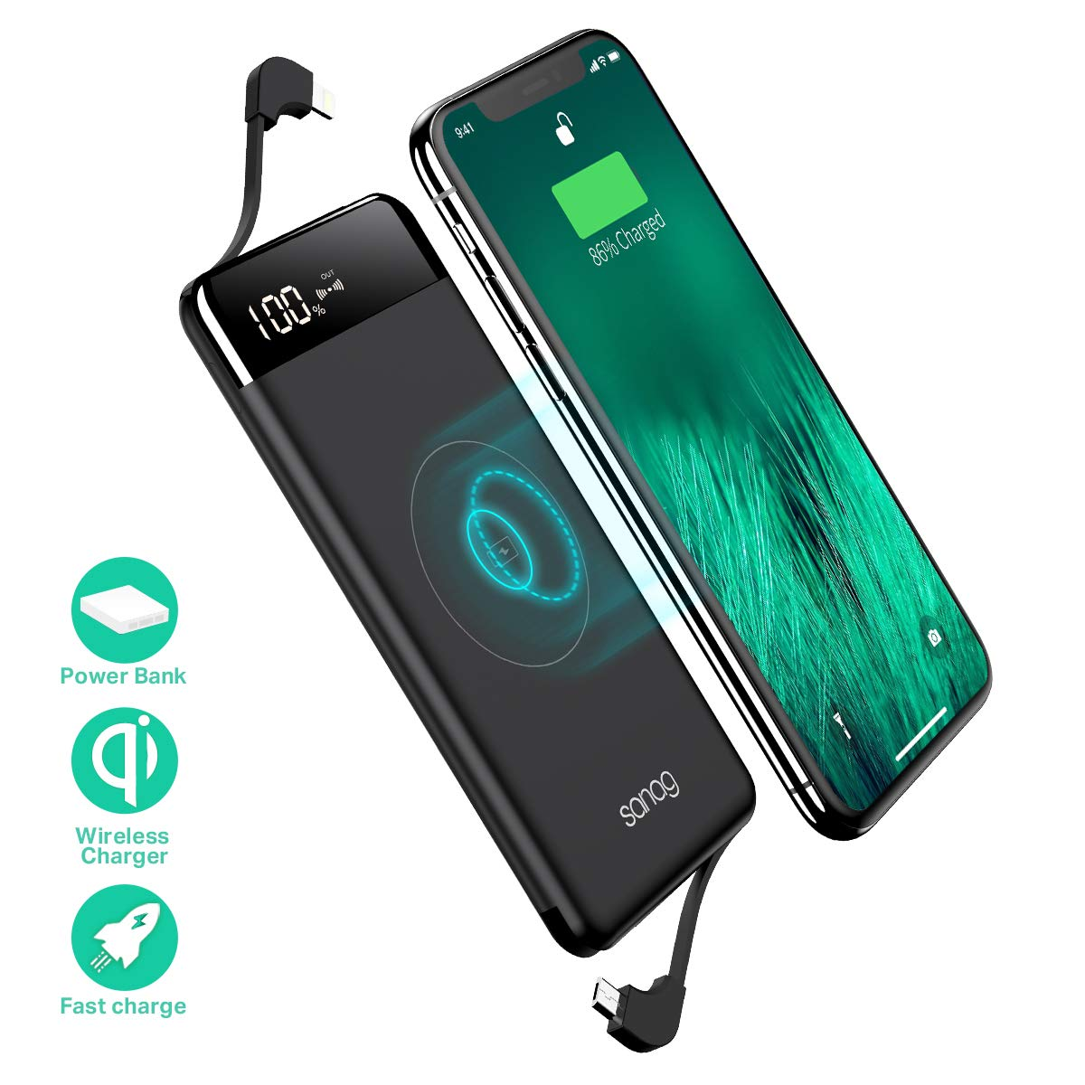Wireless Portable Charger, Portable Charger, SANAG 10000mAh External Battery Pack