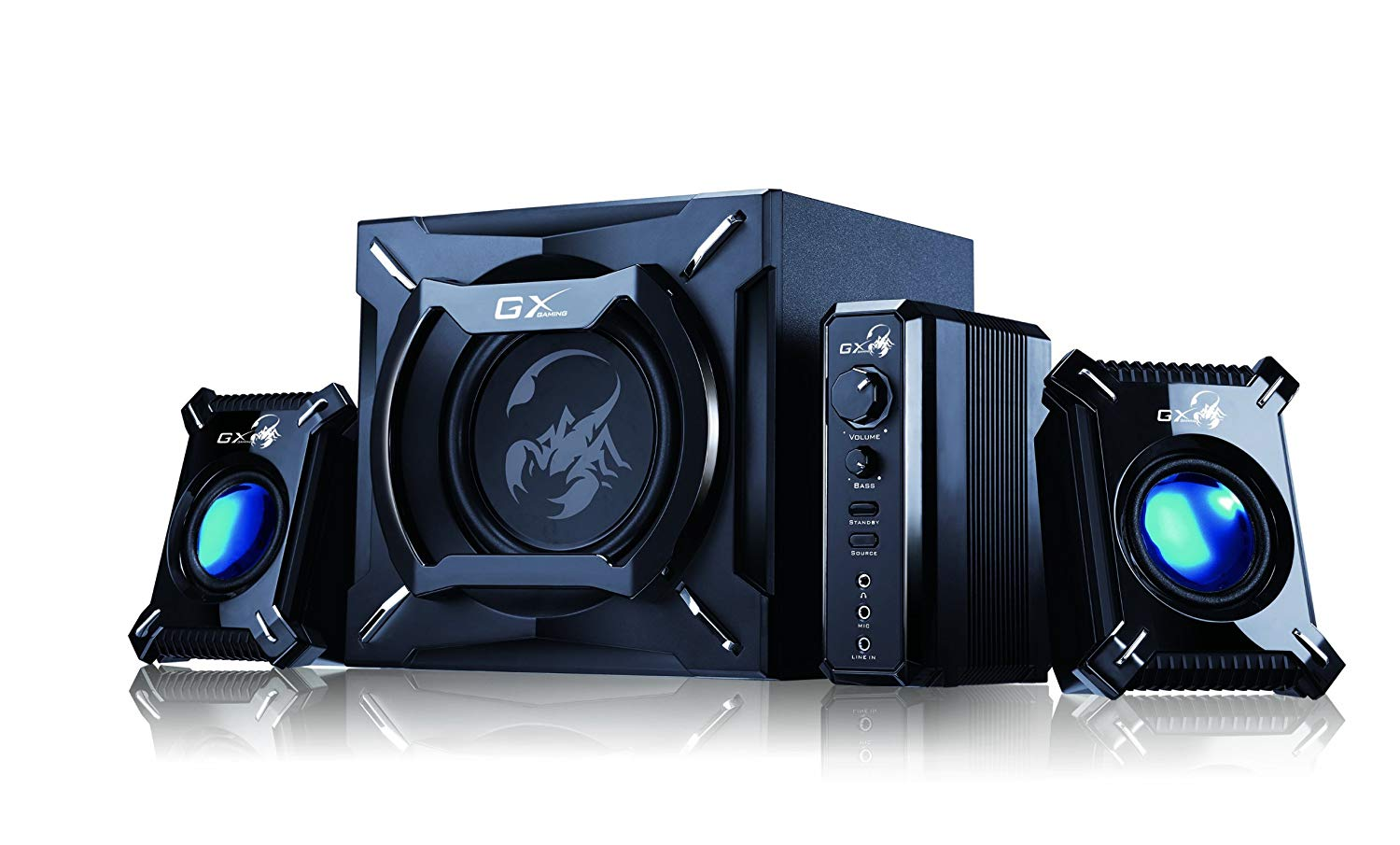 Gaming Speaker: Genius SW-G2.1 2000 2.1 Channel 45 Watts RMS Gaming Woofer Speaker System for Android, Apple Devices, Tablets, Laptops, PC