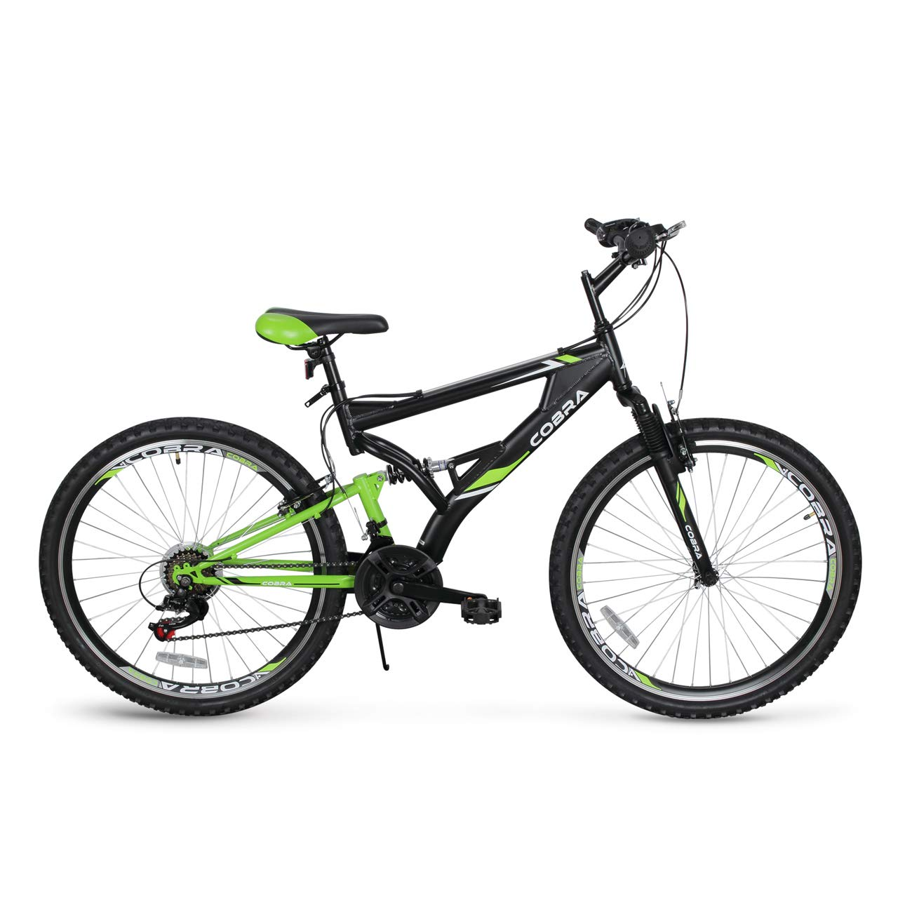 "Akonza Cobra 26"" Mountain Bicycle Full Suspension 21-Speed Compatible Outdoor MTB Bike"