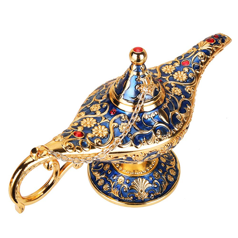 Wispun Aladdin Magic Genie Lamps - Vintage Incense Burners Magic Genie Light Lamp for Home Table Decoration/Party/Halloween/Birthday (Gold-Blue)