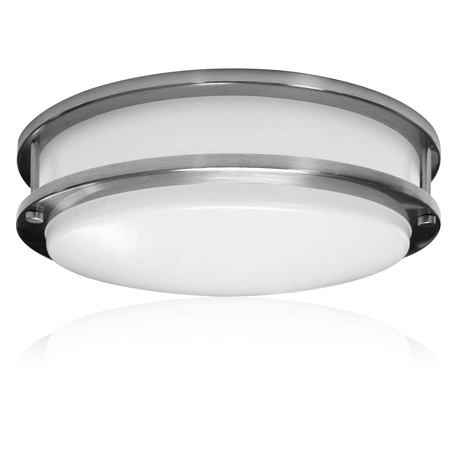 "Outdoor Ceiling Light: Zip-LED 16"" Light Fixture for Ceiling or Wall in Brushed Nickel"