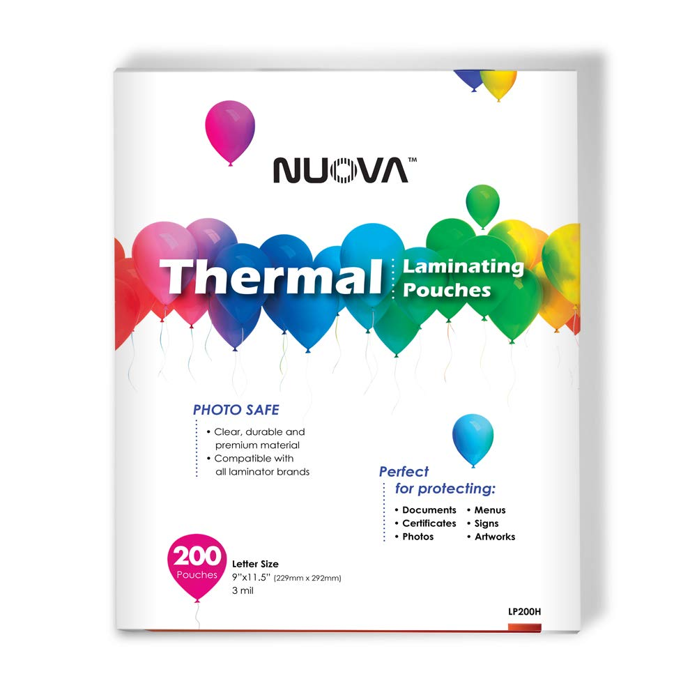 "Nuova Premium Thermal Laminating Pouches, 9"" x 11.5""/Letter Size/3 mil, 200 Pack (LP200H)"