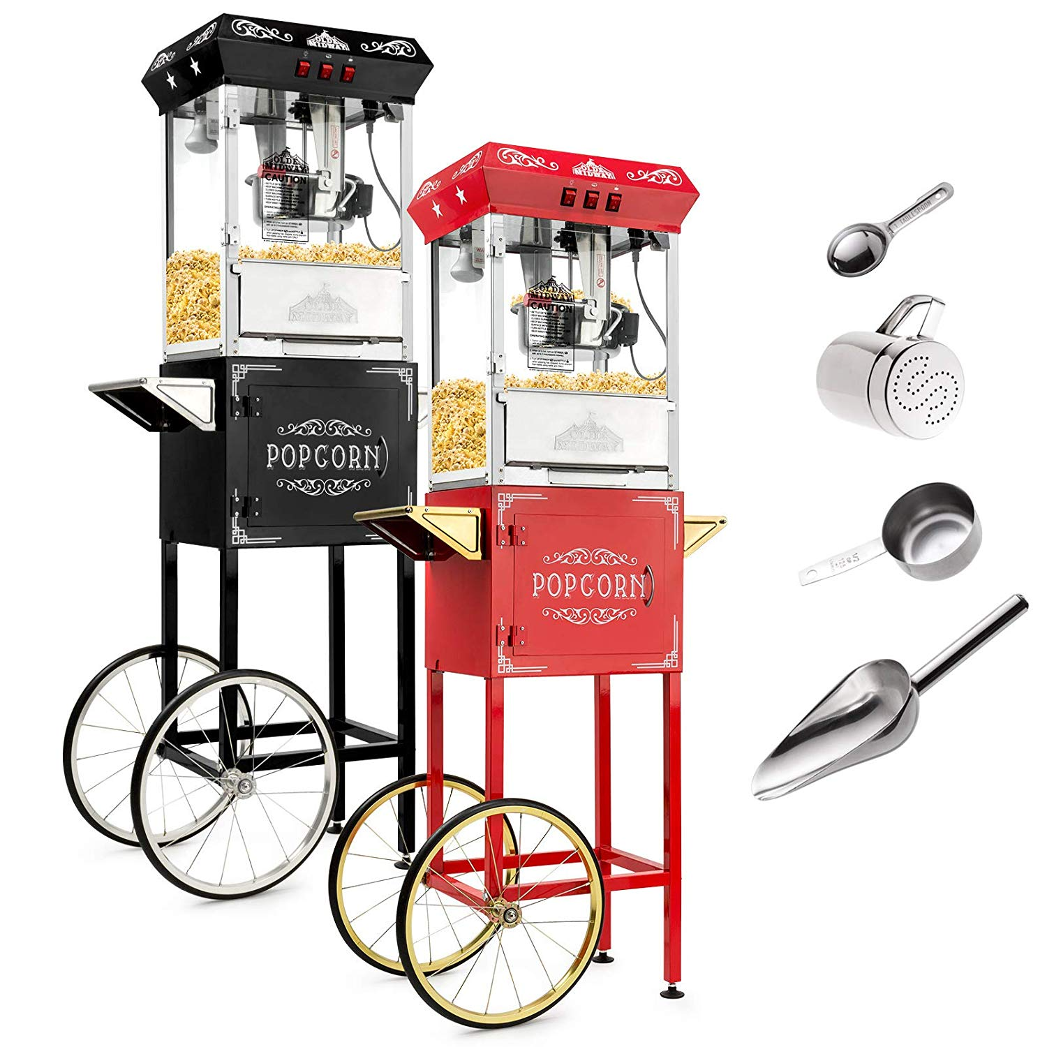 Olde Midway Vintage Style Popcorn Machine Maker Popper with Cart and 8-Ounce Kettle - Red
