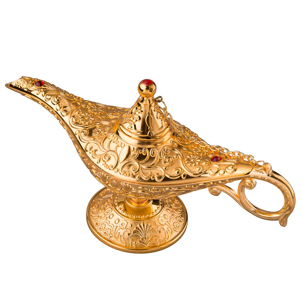Feyarl Gold Legend Magic Genie Light Lamp Pot Incense Burner with Gift Box for Home Deco (8.6 x 3 x 4.4 inches) …