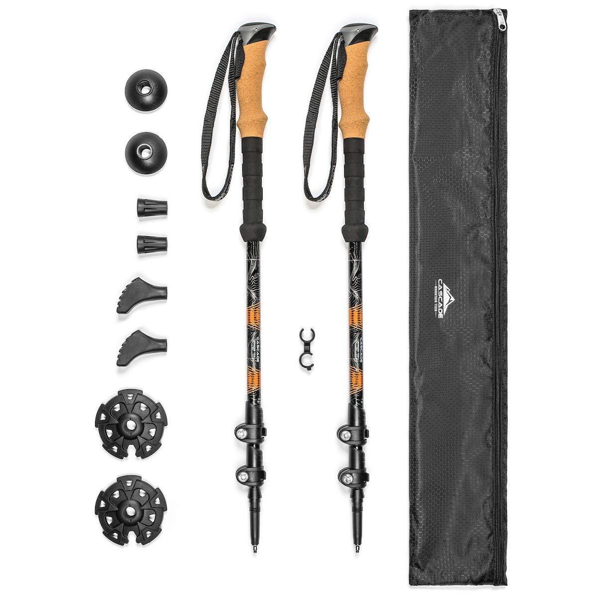 Cascade Mountain Tech Aluminum Quick Lock Trekking Poles - Collapsible Walking or Hiking Stick