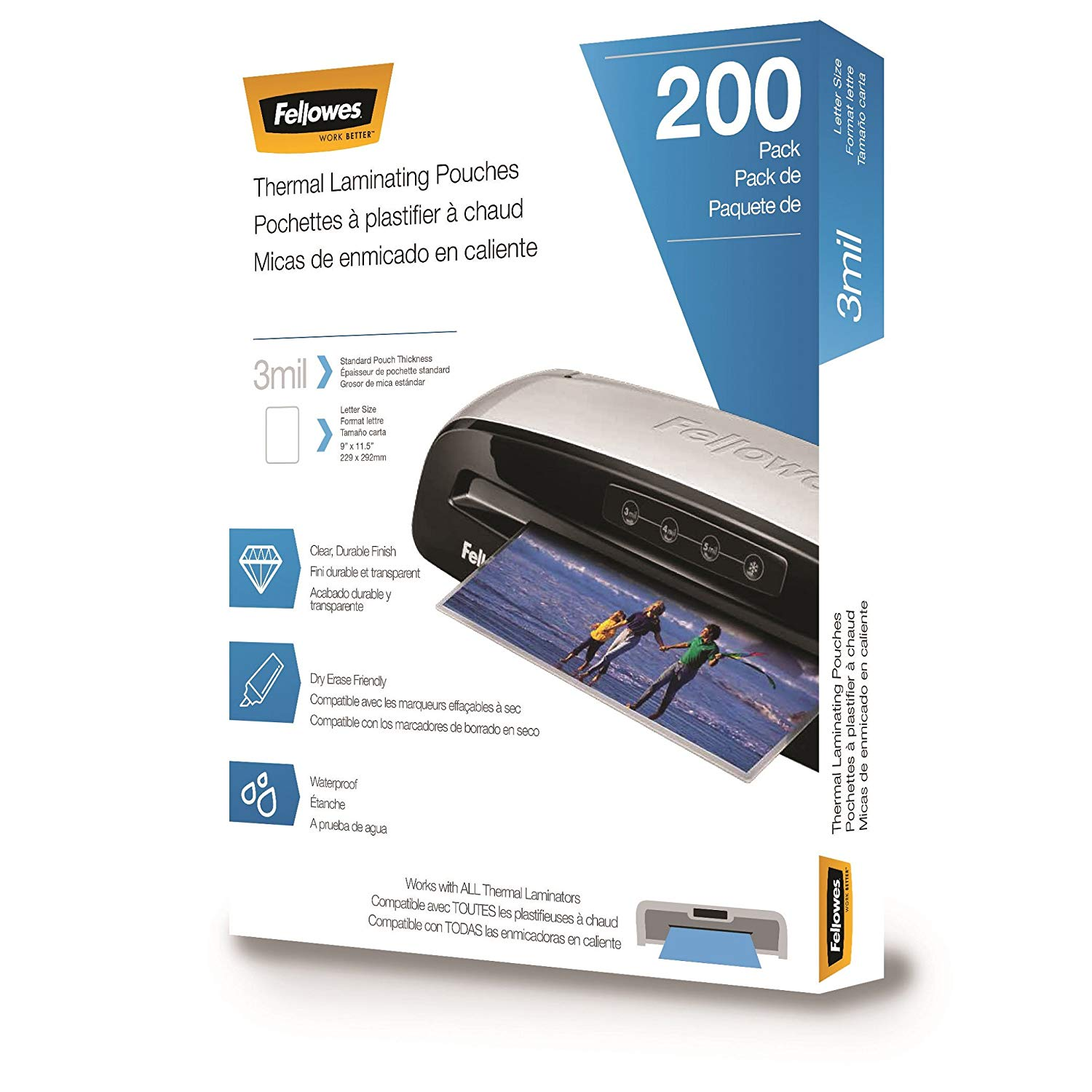 Fellowes Thermal Laminating Pouches, 3 mils, 200 Pack – 5743401