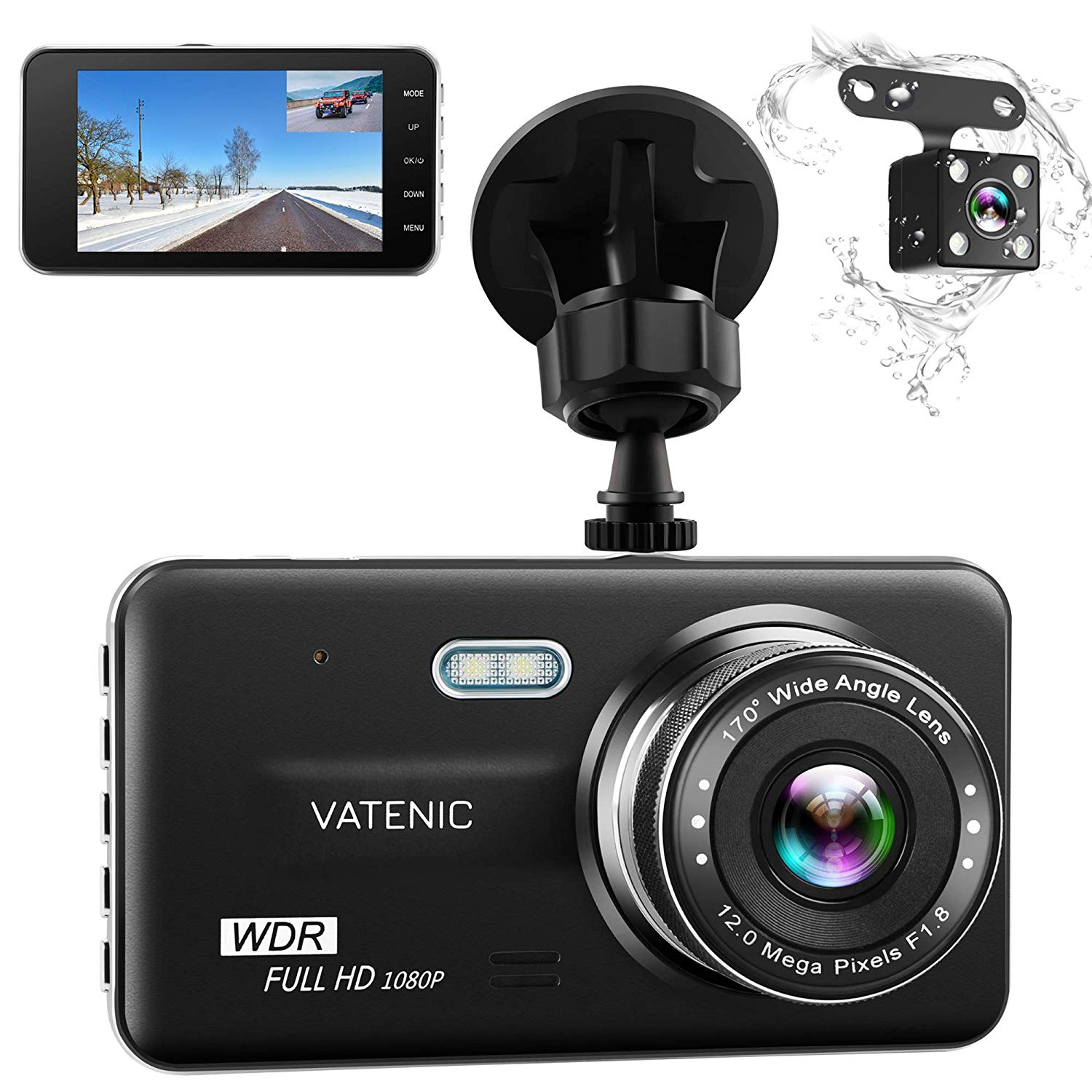 """Dual Dash Cam Car Dashboard Camera Recorder FHD 1080P Front And Rear Cameras ,Driving loop Recording ,4.0 """" IPS Screen 170°Wide Angle, WDR ,Parking Monitor, G-Sensor, Night Vision, Motion Detection"""