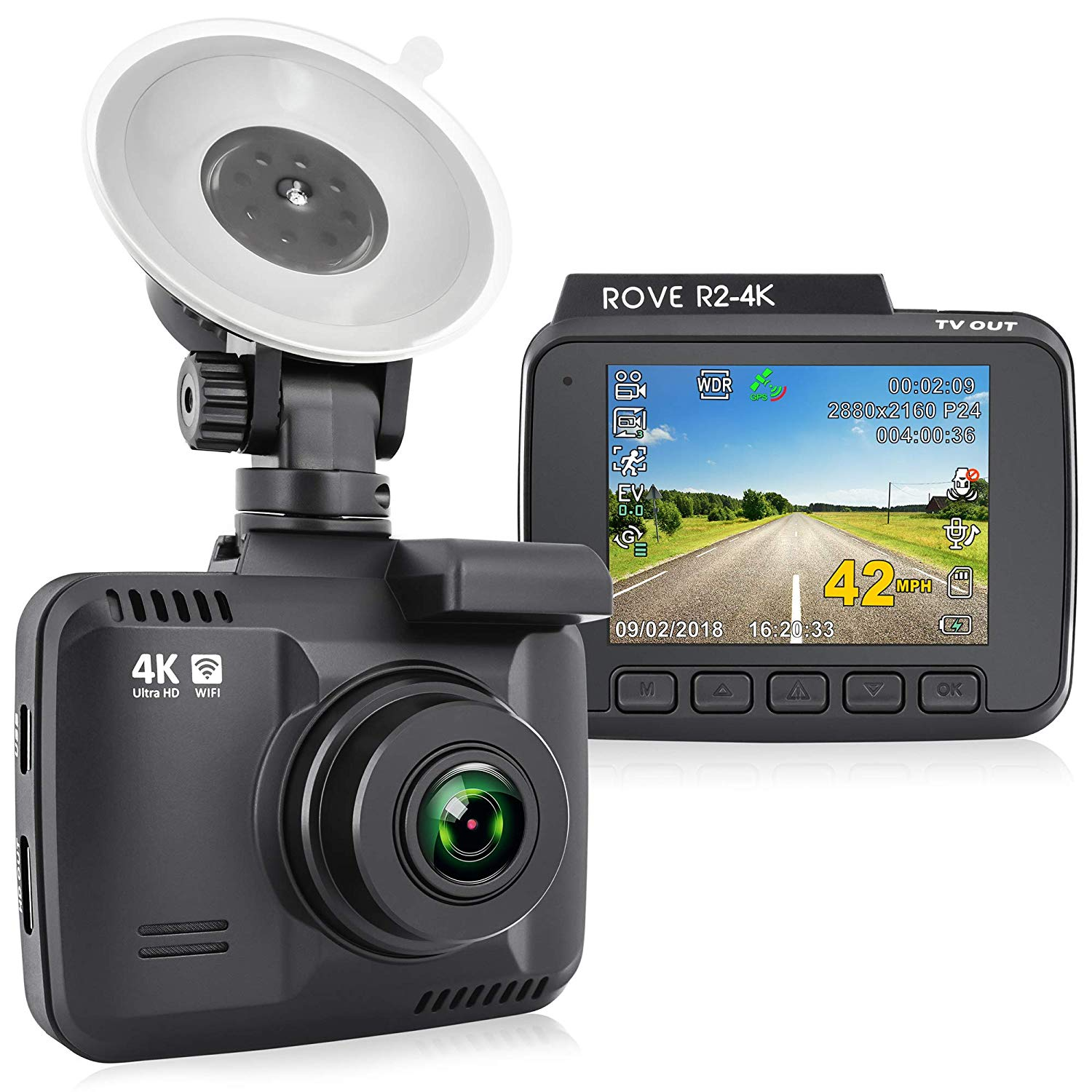 """Rove R2-4K Dash Cam Built in WiFi GPS Car Dashboard Camera Recorder with UHD 2160P, 2.4"""" LCD, 150° Wide Angle, WDR, Night Vision"""