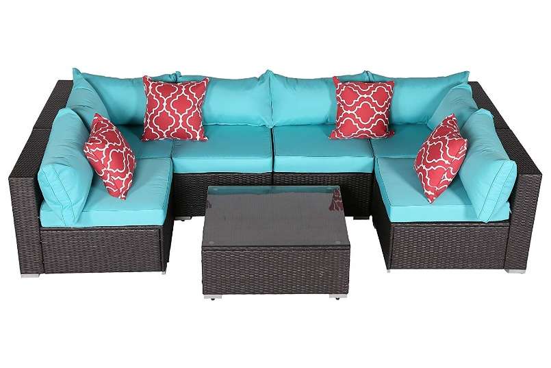 Outdoor Sofa and Table Set: Do4U Patio Sofa (7555-Turquoise)