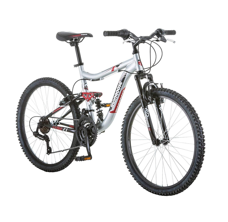 Mongoose Ledge 2.1 Boys' Mountain Bike, Silver/Red