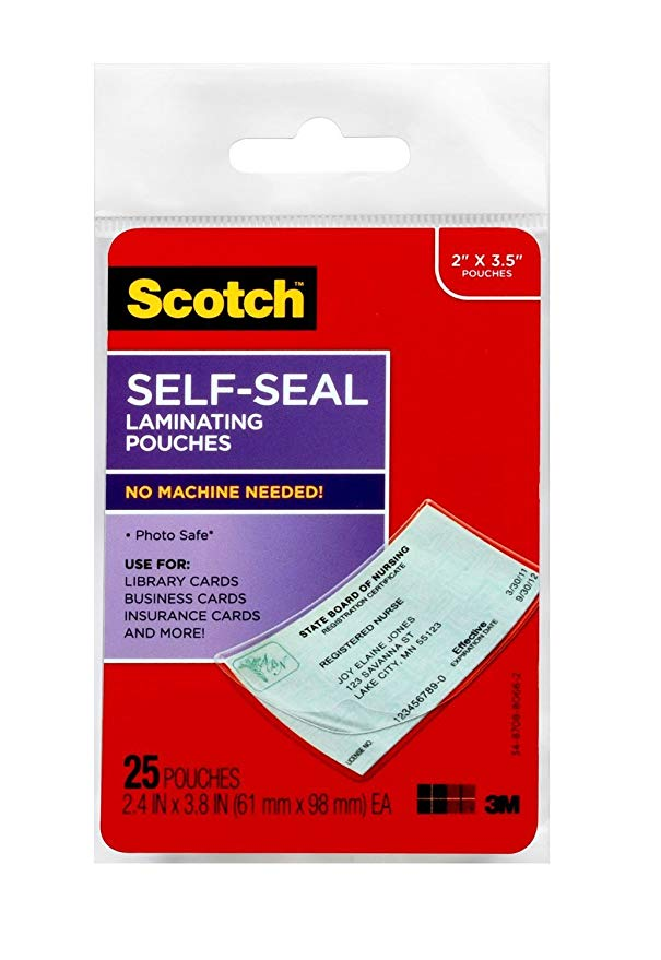 Scotch LS851G Self-Sealing Laminating Pouches, 9.5 mils, 2 7/16 x 3 7/8, Business Card Size (Pack of 25)